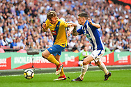 Sonni Coleman of Stockton Town (14) and Curtis Angell of Thatcham Town (3) battle for the ball during the FA Vase match between Stockton Town and Thatcham Town at Wembley Stadium, London, England on 20 May 2018. Picture by Stephen Wright