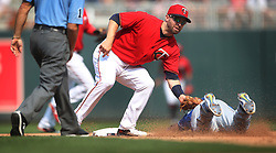 September 3, 2017 - Minneapolis, MN, USA - Minnesota Twins second baseman Brian Dozier (2) tags out Kansas City Royals second baseman Whit Merrifield (15) on a steal attempt in the fifth inning on Sunday, Sept. 3, 2017 at Target Field in Minneapolis, Minn. Kansas City beat Minnesota 5-4. (Credit Image: © Jerry Holt/TNS via ZUMA Wire)