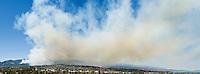 Santa Barbara, California - Aprox 2 hours after report of fire, smoke of Jesusita fire covers sky over Santa Barbara. Tuesday May 5, 2009 3:37pm