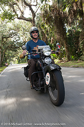 Richard Duda riding his 1924 Henderson Deluxe during Stage 1 of the Motorcycle Cannonball Cross-Country Endurance Run, which on this day ran from Daytona Beach to Lake City, FL., USA. Friday, September 5, 2014.  Photography ©2014 Michael Lichter.