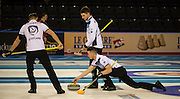 """Glasgow. SCOTLAND. Scotland's Hammy McMILLAN, approaching the """"Hog Line"""" with his """"Stone"""" during the, Le Gruyère European Curling Championships. 2016 Venue, Braehead  Scotland<br /> Sunday  20/11/2016<br /> <br /> [Mandatory Credit; Peter Spurrier/Intersport-images]"""