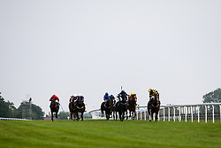 Derry Boy ridden by Richard Kingscote trained by David Evans, Bayston Hill ridden by Daniel Muscutt trained by Mark Usher, Kashmirella ridden by Charles Bishop trained by Eve Johnson Houghton, Tiger Zone ridden by Liam Keniry trained by Clive Cox, Born To Please ridden by David Probert trained by Mark Usher, Salsa Dip ridden by Jason Watson trained by Daniel & Claire Kubler, Quarry Bay ridden by Pierre-Louis Jamin trained by William Knight, Yer Tekkin Mick ridden by Theodore Ladd trained by Michael Appleby, River Cafe ridden by Tyler Heard trained by Barry Brennan, No Civil Justice ridden by Philip Prince trained by Richard Guest, Artillery ridden by Franny Norton trained by Mark Johnston, Scorpio's Dream ridden by Darragh Keenan trained by Charlie Wallis in the Follow At The Races on Twitter Handicap (Div 2) - Mandatory by-line: Robbie Stephenson/JMP - 13/08/2020 - HORSE RACING - Bath Racecourse - Bath, England - Bath Races