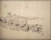 Ancient map of the east of the Island of Java from the 19th century manuscript 'Plantae Javanicae rariores, descriptae iconibusque illustratae, quas in insula Java, annis 1802-1818' (Java Plants, Description of plants on the island of Java) by Horsfield, Thomas, 1773-1859 Published in Latin in London in 1838