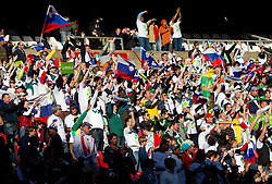 Fans of Slovenia during the 2010 FIFA World Cup South Africa Group C match between Slovenia and USA at Ellis Park Stadium on June 18, 2010 in Johannesberg, South Africa. (Photo by Vid Ponikvar / Sportida)