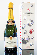 Champagne Taittinger Brut on display at Taittinger in Reims, Champagne-Ardenne, France