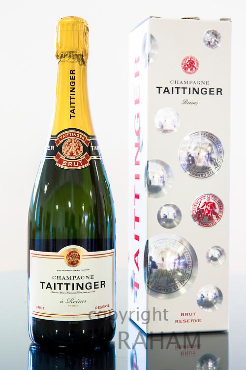 Champagne Taittinger Brut on display at Taittinger in Reims, Champagne-Ardenne, France