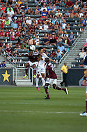 August 4, 2012: Colorado Rapids midfielder Jaime Castrillon (23) out jumps Real Salt Lake defender Tony Beltran (2) for the header in the first half at Dick's Sporting Goods Park in Denver, Colorado