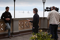 Mathieu Richard being interviewed prior to Match Race Germany. World Match Race Tour. Langenargen, Germany. 19 May 2010. Photo: Gareth Cooke/Subzero Images/WMRT