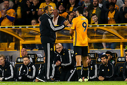 Wolverhampton Wanderers manager Nuno shakes hands with Raul Jimenez of Wolverhampton Wanderers - Mandatory by-line: Robbie Stephenson/JMP - 19/08/2019 - FOOTBALL - Molineux - Wolverhampton, England - Wolverhampton Wanderers v Manchester United - Premier League