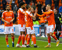 Blackpool's Jerry Yates celebrates scoring his side's third goal<br /> <br /> Photographer Alex Dodd/CameraSport<br /> <br /> The EFL Sky Bet League One Play-Off Semi-Final 2nd Leg - Blackpool v Oxford United - Friday 21st May 2021 - Bloomfield Road - Blackpool<br /> <br /> World Copyright © 2021 CameraSport. All rights reserved. 43 Linden Ave. Countesthorpe. Leicester. England. LE8 5PG - Tel: +44 (0) 116 277 4147 - admin@camerasport.com - www.camerasport.com