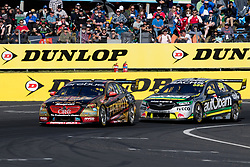 October 8, 2018 - Bathurst, NSW, U.S. - BATHURST, NSW - OCTOBER 07: David Reynolds in the Erebus Penrite Racing Holden Commodore leads Craig Lowndes in the Autobarn Lowndes Racing Holden Commodore at the Supercheap Auto Bathurst 1000 V8 Supercar Race at Mount Panorama Circuit in Bathurst, Australia on October 07, 2018 (Photo by Speed Media/Icon Sportswire) (Credit Image: © Speed Media/Icon SMI via ZUMA Press)