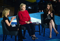 Elizabeth Banks, Hillary and Chelsea Clinton hold a conversation with families about Clinton's agenda to support children and families and create an economy that works for everyone at Haverford Community Recreation & Environmental Center in Haverford, PA, USA, on October 4, 2016. Photo by Dennis Van Tine/ABACAPRESS.COM
