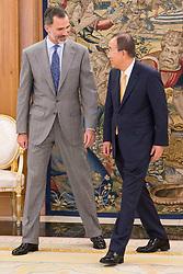 King Felipe VI of Spain receive to South Korean diplomatic Ban Ki-moon at royal audience at Zarzuela Palace in Madrid, June 14, 2017. Spain. Photo by BorjaB.Hojas/AlterPhotos/ABACAPRESS.COM
