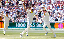 Australia's Josh Hazelwood celebrates the wicket of England's Joe Root during day five of the Ashes Test match at the Adelaide Oval, Adelaide.