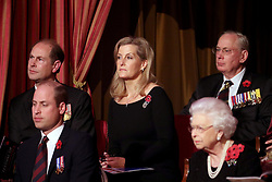 Queen Elizabeth II (right), with (left to right) the Earl of Wessex, the Duke of Cambridge and the Countess of Wessex attend the annual Royal British Legion Festival of Remembrance at the Royal Albert Hall in Kensington, London.