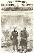 Congress of Berlin, 1878, held in Bismarck's chancellory, the former Radziwill Palace. The Ante-room where delegates could meet informally.   Here the British delegate Lord Beaconsfield (Benjamin Disraeli), is in discussion with other delegates (Russian and Turkish?).  From 'The Illustrated London News', 29 June 1878.