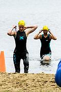 Female athletes complete the swim segment in the 2018 Hague Endurance Festival Sprint Triathlon