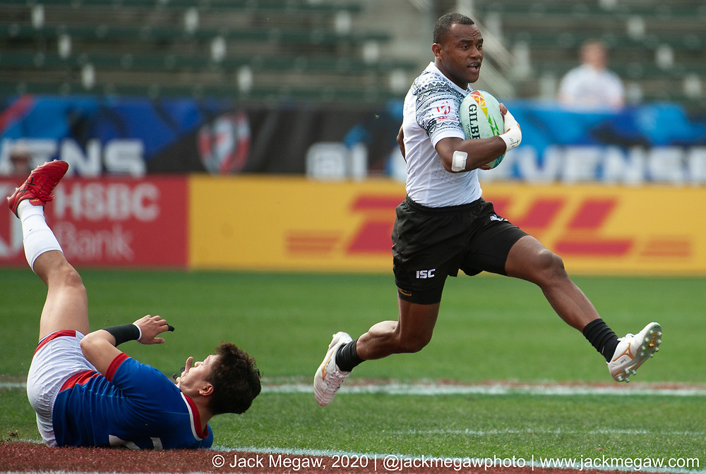 M04 - Fiji and South Korea compete in the group stages of the 2020 Los Angeles Sevens at Dignity Sports Health Park in Los Angeles, California. February 29, 2019. <br /> <br /> © Jack Megaw, 2020