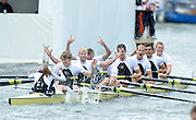 Henley, GREAT BRITAIN,  Molesey BC.,  celebrate winning the Thames Challenge Cup at 2012 Henley Royal Regatta. 2012 Henley Royal Regatta. ..Sunday  11:57:32  01/07/2012. [Mandatory Credit, Peter Spurrier/Intersport-images]...Rowing Courses, Henley Reach, Henley, ENGLAND . HRR.