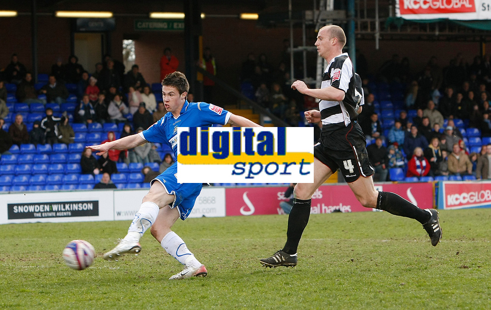 Photo: Matt Bright/Richard Lane Photography. <br />Stockport County v Darlington. Coca Cola Divison Two. 05/04/2008. Tommy Rowe (L) shoots and hits the post. Alan White (R) cannot get close