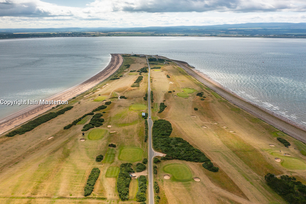 Aerial view from drone of Chanonry Point peninsula on the  Moray Firth, Black Isle, Scotland, UK.