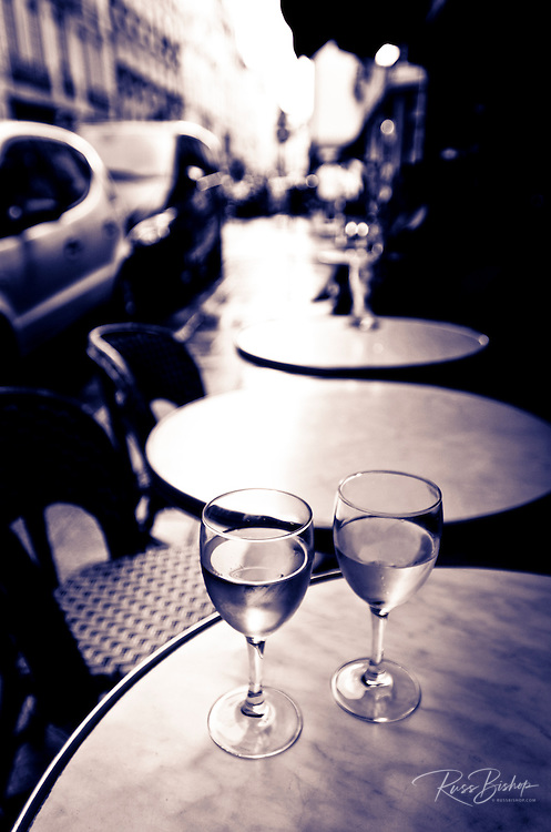 Wine glasses at an outdoor cafe, Paris, France
