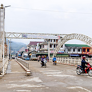 One of the two main bridges across the river in Sam Neua (also spelled Samneua, Xamneua and Xam Neua) in northeastern Laos.