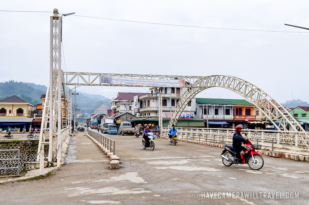 One of the two main bridges across the river in Sam Neua (also spelled Samneua, Xamneua and Xam Neua) in northeastern Laos.