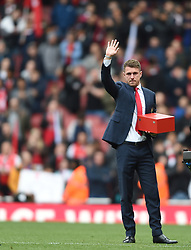 Arsenal's Aaron Ramsey waves goodbye to fans at full time
