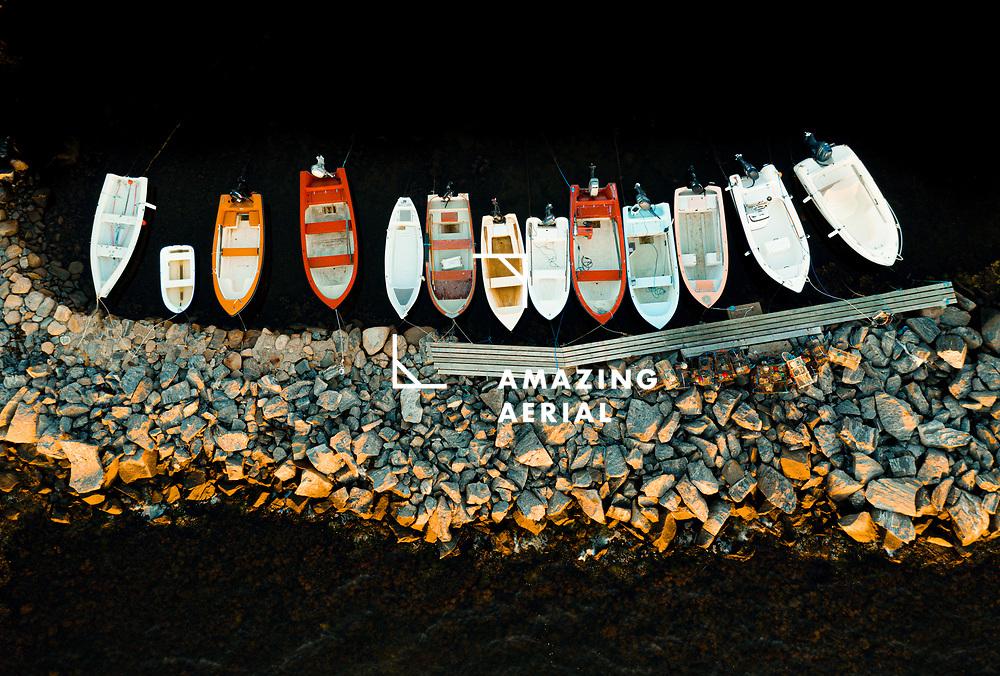 Aerial view of anchored boats at sunset, Hönö, Gothenburg archipelago, Sweden.