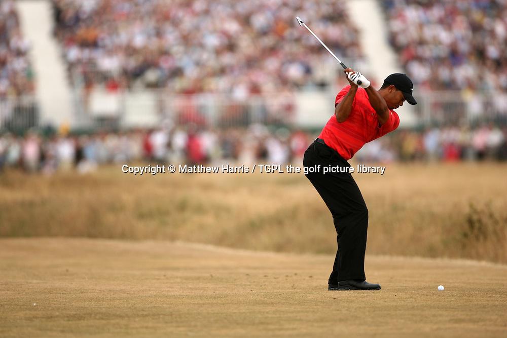 Tiger WOODS (USA) hits 2nd shot at 16th par 5 during fourth round The Open Championship 2006,Royal Liverpool,Hoylake,Wirral,England.