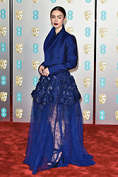 Arrivals at the EE British Academy Film Awards 2019 (BAFTAs) held at The Royal Albert Hall, London, England, UK on February 10, 2019. 10 Feb 2019 Pictured: Lily Collins. Photo credit: Phil Loftus/Capital Pictures / MEGA TheMegaAgency.com +1 888 505 6342