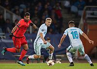 SAN SEBASTIAN, SPAIN - DECEMBER 07, 2017. 2017-18 UEFA Europa League Group L Round 6 football match: Real Sociedad (San Sebastian) - Zenit (St Petersburg) 1 - 3.  Real Sociedad's Willian Jose Da Silva (L) and Zenit St Petersburg's Igor Smolnikov (C), and Chistian Noboa (R).