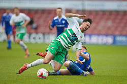 WREXHAM, WALES - Monday, May 2, 2016: The New Saints' Ryan Brobbel is tackled by Airbus UK Broughton's Ryan Fraughan during the 129th Welsh Cup Final at the Racecourse Ground. (Pic by David Rawcliffe/Propaganda)