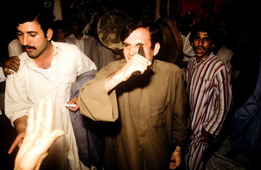 Iraqi man pierces eye socket with dagger during Sufi ceremonies in Baghdad Iraq