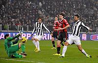 Mirko Vucinic ( Juventus ) segna il gol del 2-1.Torino 09/01/2013 Juventus Stadium.Trofeo Coppa Italia Tim Cup 2011/2012 .Football Calcio Juventus Milan.Foto Insidefoto Giorgio Perottino