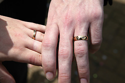 Close up of bride and groom's wedding bands,