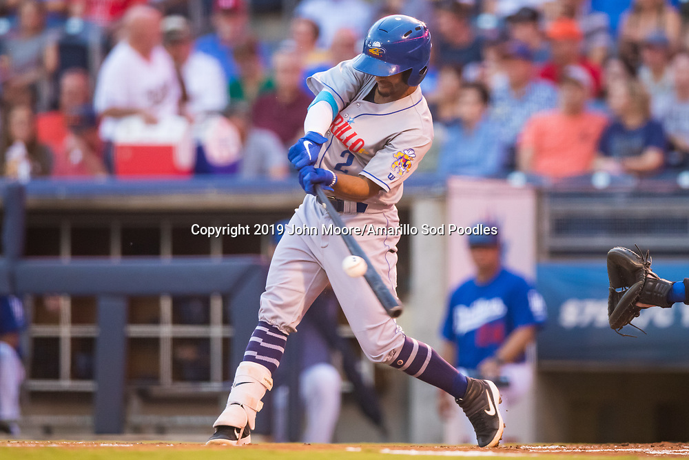Amarillo Sod Poodles infielder Ivan Castillo (2) hits the ball against the Tulsa Drillers during the Texas League Championship on Friday, Sept. 13, 2019, at OneOK Field in Tulsa, Oklahoma. [Photo by John Moore/Amarillo Sod Poodles]