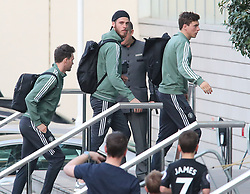 The Manchester United team arrive at The Lowry Hotel on Saturday evening to prepare for their home game against West Brom on Sunday afternoon. Seen: Victor Lindelof, David De Gea and Kieran O'Hara.