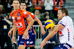 Adam Simac of ACH and Daniel Lewis of ACH during volleyball match between ACH Volley LJUBLJANA and Budvanska Rivijera BUDVA.of 2012 CEV Volleyball Champions League, Men, League Round in Pool F, 2nd Leg, on October 26, 2011, in Arena Stozice, Ljubljana, Slovenia.  ACH Volley defeated Budvanska Rivijera 3-2. (Photo by Vid Ponikvar / Sportida)