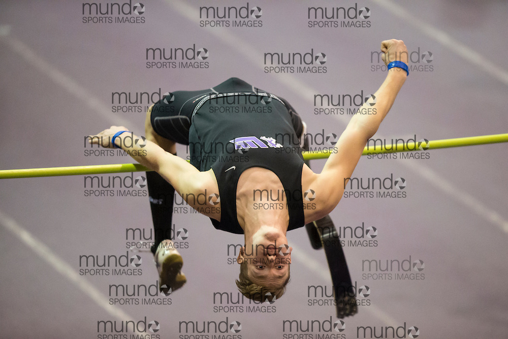 Cody Solomons of London Western Track and Field Club competes in the high jump at the STL-LW All Comers Meet # 2 in London, Ontario, Saturday, January 24, 2015.<br /> Mundo Sport Images/ Geoff Robins