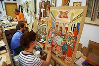 Grèce, Thessalie, Monastères des Météores, peintre d'icones// Greece, Thessaly, Meteora, Agios Stefanos monastery, icons painter