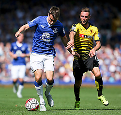 Everton's Seamus Coleman in action against Watford's Miguel Layun  - Mandatory byline: Matt McNulty/JMP - 07966386802 - 08/08/2015 - FOOTBALL - Goodison Park -Liverpool,England - Everton v Watford - Barclays Premier League