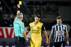 (L-R) referee Bjorn Kuipers, Adil Auassar of Roda JC, Brahim Darri of Heracles Almelo during the Dutch Eredivisie match between Heracles Almelo and Roda JC Kerkrade at Polman stadium on September 23, 2017 in Almelo, The Netherlands