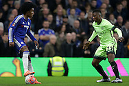 Kelechi Iheanacho of Manchester City marks Willian of Chelsea (l). The Emirates FA Cup, 5th round match, Chelsea v Manchester city at Stamford Bridge in London on Sunday 21st Feb 2016.<br /> pic by John Patrick Fletcher, Andrew Orchard sports photography.