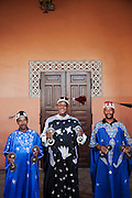 Street performers and musicians play at the Djeema el Fna in the medina of Marrakech in Morocco