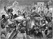 Indian Mutiny (Sepoy Mutiny) 1857-1859: Highlanders capturing the muntineers' guns at Cawnpore, 16 July 1857. Wood engraving c.1895