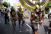 Notting Hill Carnival in West London. The Notting Hill Carnival is an annual event which since 1964 has taken place each August, over two days (the August bank holiday Monday and the day beforehand). It is led by members of the West Indian / Caribbrean community, particularly the Trinidadian and Tobagonian British population, many of whom have lived in the area since the 1950s. The carnival has attracted up to 2 million people in the past, making it the second largest street festival in the world. The celebration centres around a parade of floats, dancers and sound systems.