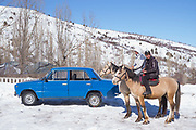 Transport in Chimgan ski resort on 28th February 2014 in Uzbekistan. Chimgan is 90kms east of the capital Tashkent, and a popular weekend destination year round.