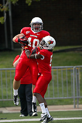 15 September 2012:  Alex Donnelly celebrates with Tevin Allen in the end zone after scoring a touchdown during an NCAA football game between the Eastern Illinois Panthers and the Illinois State Redbirds at Hancock Stadium in Normal IL
